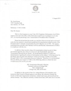 Letter from the CIA on JFK